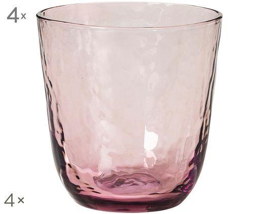 Szklanka do wody ze szkła dmuchanego  Hammered, 4 szt., Purpurowy, transparentny