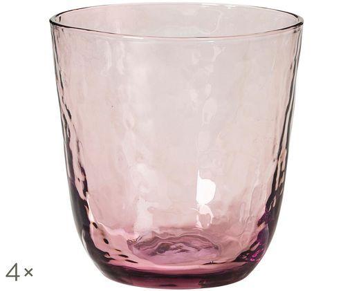 Bicchieri per l'acqua in vetro soffiato Hammered, 4 pz., Lilla, trasparente