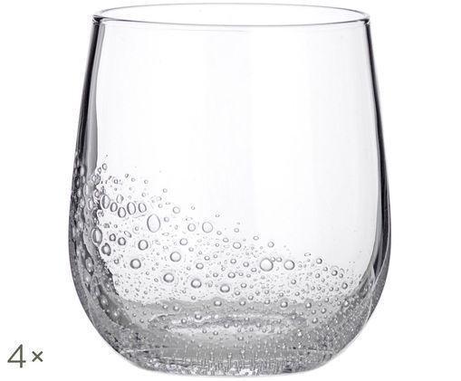 Verres à eau soufflées bouche Bubble, 4pièces, Transparent avec bulles d'air emprisonnées