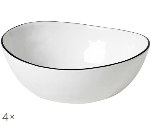 Ciotola fatta a mano Salt, 4 pz., Bianco latte, nero