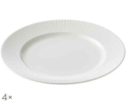 Piatto da colazione Groove, 4 pz., Bianco