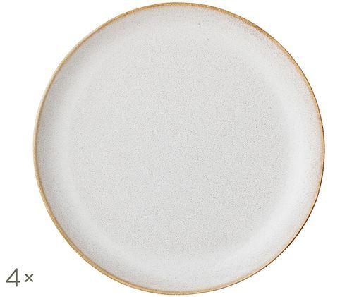 Piatto da colazione fatto a mano Carrie, 4 pz., Bianco latteo, marrone