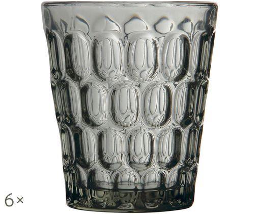 Szklanka do wody Optic, 6 szt., Transparentnyny, szary