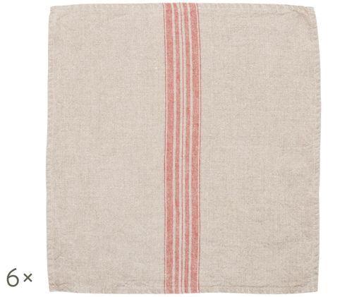 Tovaglioli di lino Jara, 6 pz., Beige, rosso