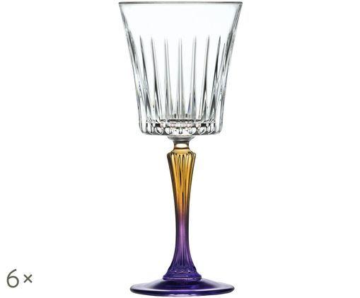 Copas de vino blanco de cristal Gipsy, 6uds., Transparente, oro amarillo, lila