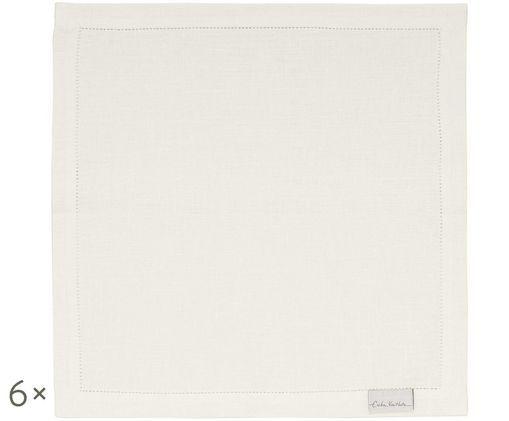 Tovaglioli Alanta in lino, 6 pz., Bianco crema