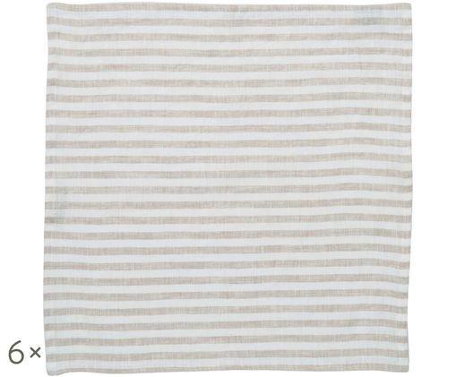 Tovaglioli di lino Solami, 6 pz., Beige, bianco