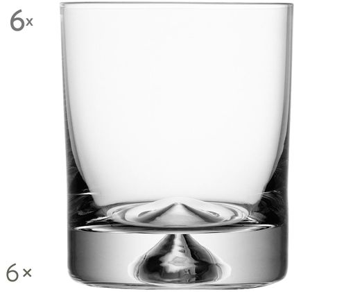 Szklanka do wody ze szkła dmuchanego Pyramid, 6 szt., Transparentny