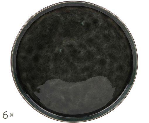 Piatto da colazione Lagune, 6 pz., Marrone grigiastro, nero verde