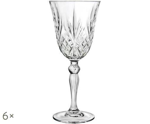 Kristallen witte wijnglazen Melodia, 6 stuks, Transparant