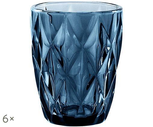 Vintage bicchieri per l'acqua Diamond, 6 pz., Blu, leggermente trasparente