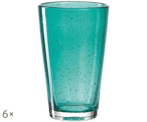 Szklanka do wody Burano, 6 szt., Turkusowy, lekko transparentny