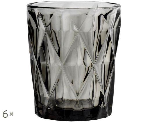 Vasos de agua Diamond, 6uds., Gris oscuro, ligeramente transparente