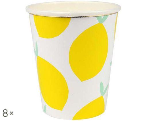 Vasos de papel Lemon, 8uds., Blanco, amarillo, verde