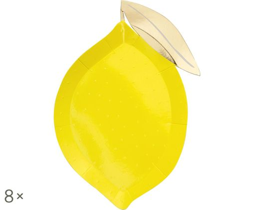 Piatto di carta Lemon, 8 pz., Giallo, dorato