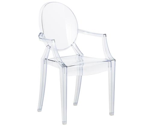 Chaise à accoudoirs Louis Ghost, Bleu, transparent