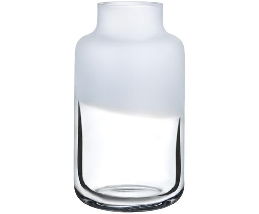 Handgefertigte Glas-Vase Magnolia, Glas, Obererteil: Weiß<br>Untererteil: Transparent, Ø 18 x H 32 cm