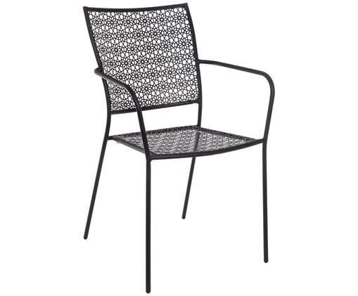 Sedia da giardino con braccioli Jodie, Acciaio rivestito in polvere epossidica, Antracite, Larg. 57 x Alt. 89 cm