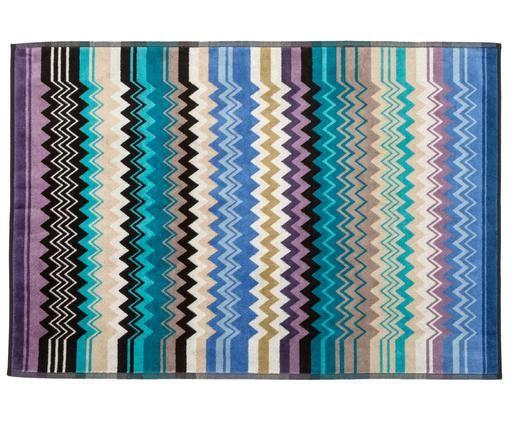 Tapis de bain fin multicolore Giacomo, Turquoise, multicolore