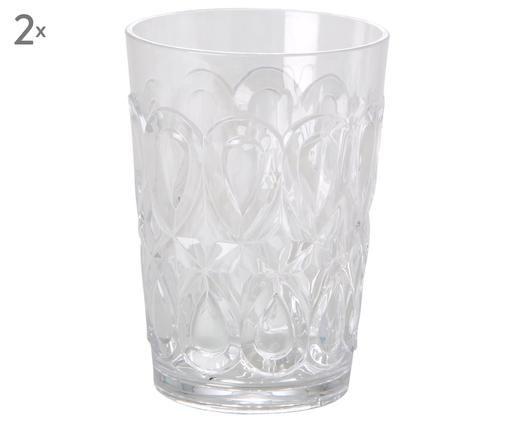 Szklanka z akrylu Swirly, 2 szt., Szkło akrylowe, Transparentny, Ø 9 x W 12 cm