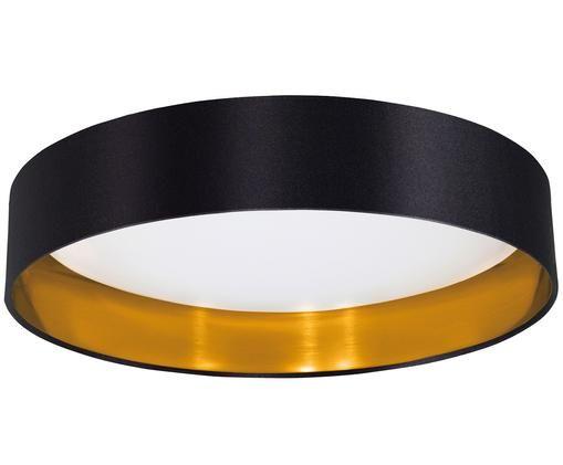 LED plafondlamp Marbella uit linnen, Zwart, goudkleurig
