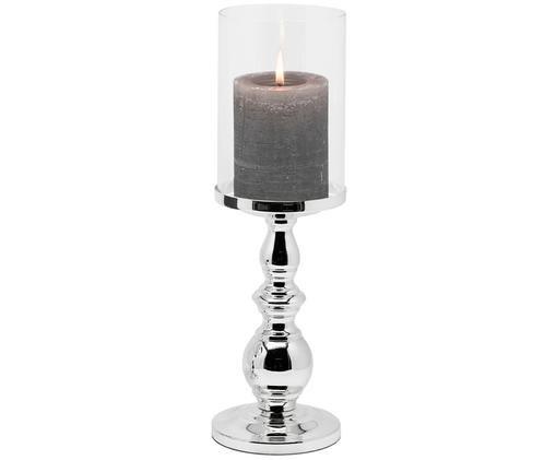 Windlicht Olga, Windlicht: Glas, Transparent, Silber, H 34 x Ø 10 cm