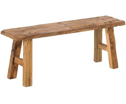 Panca rustica in legno Electric, Legno di teak riciclato non trattato, Legno di teak riciclato non trattato, Larg. 120 x Alt. 45 cm