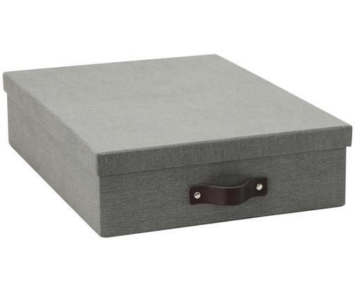 Boîte de rangement Oskar II, Extérieur boîte: gris. Intérieur boîte: noir poignée: brun foncé