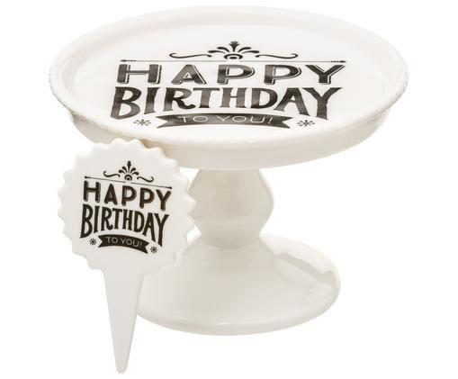 Set alzata per muffin Happy Birthday, 2 pz., Bianco, nero