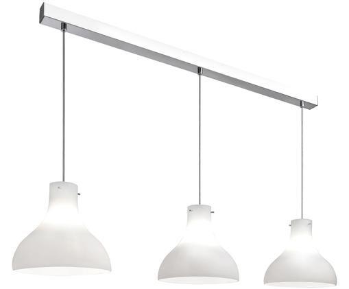 Hanglamp Oslo, Baldakijn en ophanging: chroom. Lampenkap: wit, melkachtig transparant