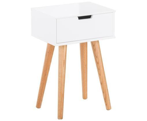 Szafka nocna Mitra, Nogi: drewno dębowe, Nogi: drewno dębowe<br>Korpus i front: biały, matowy, 40 x 62 cm