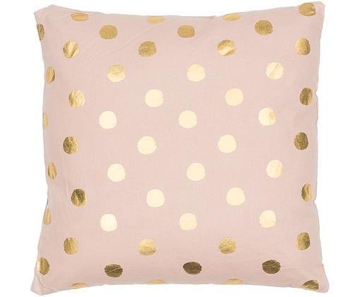 Kussen Dots, Roze, goudkleurig, 45 x 45 cm