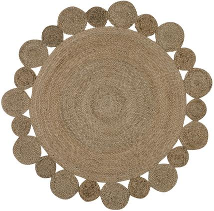 Runder Jute-Teppich Niago im Boho Style, handgefertigt