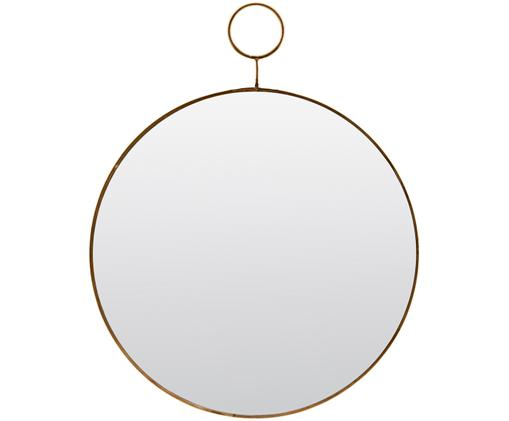 Wandspiegel Loop, Rand: Metall mit gewollten Gebr, Spiegelfläche: Spiegelglas, Rand: Messingfarben<br>Spiegelfläche: Spiegelglas, Ø 32 cm