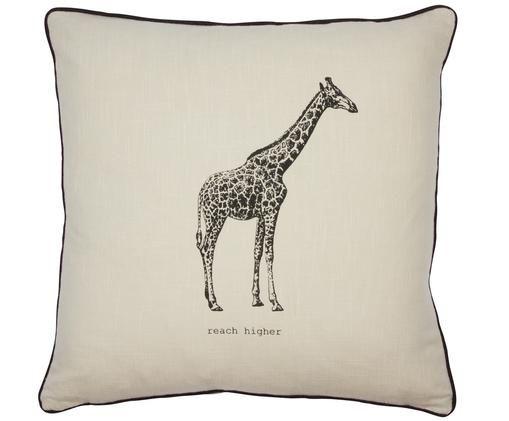 Kissen Ambition mit Giraffe, mit Inlett, Baumwolle, Beige, 50 x 50 cm