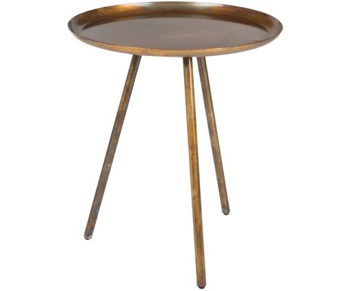 Tavolino rotondo in metallo Frost, Dorato, rame, finitura antica, Ø 39 x Alt. 45 cm