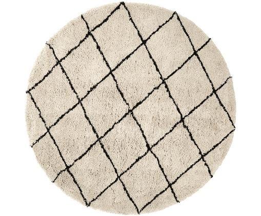 Runder flauschiger Hochflor-Teppich Naima, handgetuftet