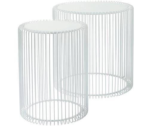 Set 2 tavolini da salotto con piano in vetro Wire, Struttura: acciaio verniciato a polv, Piano d'appoggio: vetro temperato, Bianco, Diverse dimensioni