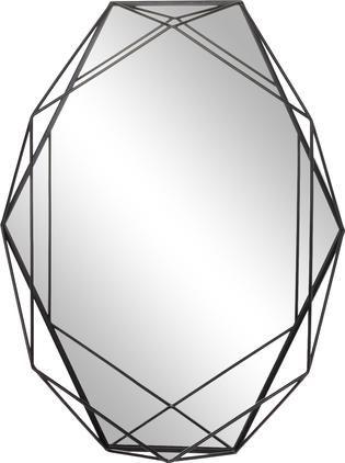 Ovaler Wandspiegel Prisma mit schwarzem Metallrahmen