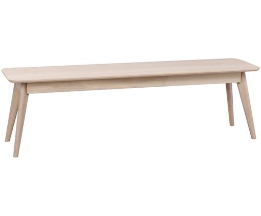 Sitzbank Yumi aus massivem Eichenholz, Massives Eichenholz, weiss gewaschen, Eiche, weiss gewaschen, 155 x 45 cm