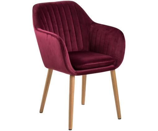 Fotel Emilia, Tapicerka: poliester (aksamit), Nogi: drewno dębowe, olejowane , Bordowy, S 57 x G 59 cm