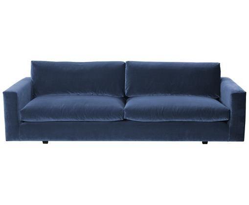 Divano in velluto Balmira (3 posti), Rivestimento: blu Piedini: nero