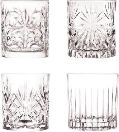 Kristallgläser Bichiera mit Reliefmuster, 4er-Set