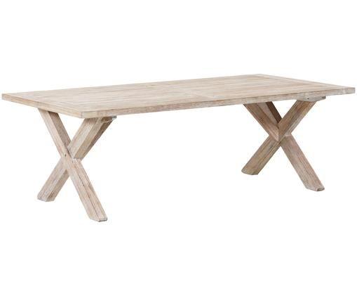 Gartentisch Arizona, Akazienholz, weiß gewaschen, Akazie, weiß gewaschen, B 200 x T 90 cm
