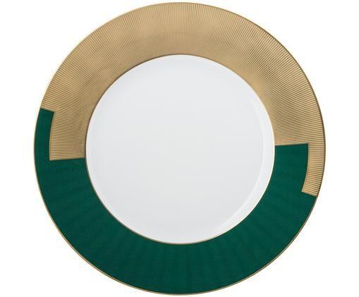 Servizio piatto smeraldo, Bianco, verde, oro