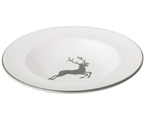 Suppenteller Gourmet Grauer Hirsch, Keramik, Grau,Weiß, Ø 24 cm