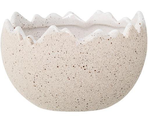 Osłonka na doniczkę Eggshell, Kamionka, Odcienie kremowego, brązowy, Ø 13 x W 8 cm