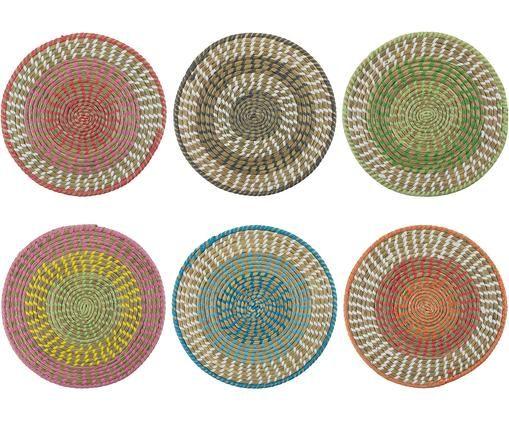 Runde Tischsets Mexico aus Naturfasern, 6er Set