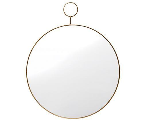Specchio da parete Loop, Bordo: ottone Superficie dello specchio: lastra di vetro