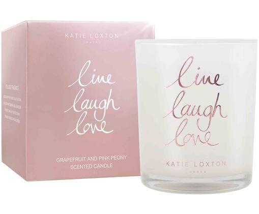 Duftkerze Live Laugh Love (Grapefruit & Pfingstrose), Weiß, Rosé